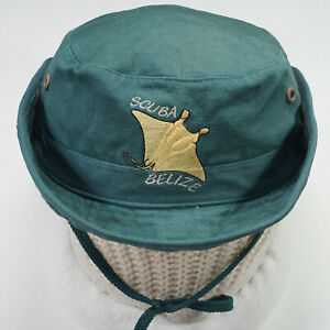 Scuba Belize Vintage Bucket Hat XL 7 3/8 - 7 5/8 green pocket snaps stingray