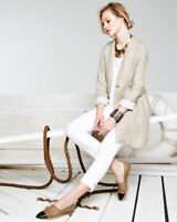 EILEEN FISHER L Organic Linen Double-weave Long Jacket Duster Natural Tan  $378