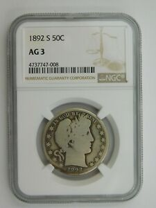 1892 S Barber Half Dollar NGC Graded AG 3 (102)