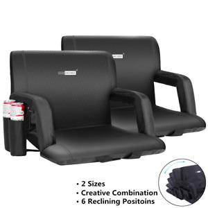 1/2x Folding Stadium Seat Chair Cushion Camping Bleacher Padded Back