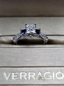 Verragio Diamond Engagement Ring 0.80ct Prc H VVS2 GIA + Side Sapphires Size 6.5