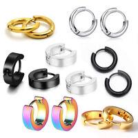 Unisex Stainless Steel Hoop Huggie Ear Helix Curved Cartilage Stud Ring Earrings