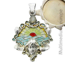 Jugendstil Silber Anhänger Meyle & Mayer Fenster Emaille Medaillon Pendant
