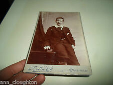 G127 Antique Vintage Cabinet Card Young Man G & J Hall Westgate, Wakefield