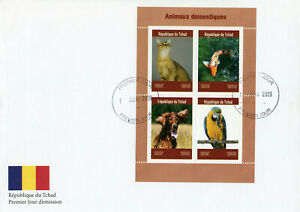 Chad 2019 FDC Domestic Animals Pets Cats Dogs Fish Parrots 4v M/S Cover Stamps
