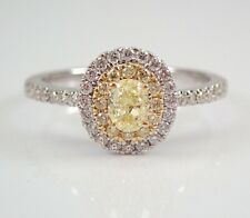 Diamond Halo Engagement Ring Size 7 14K White and Yellow Gold Canary Oval