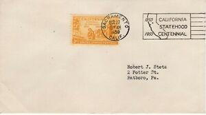 CALIFORNIA STATEHOOD CENTENNIAL CANCEL,   SACRAMENTO, CA 1950 FDC10542