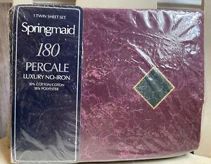 Vintage Springmaid Amalfi Twin Luxury Sheet Set 50/50 Blend Burgundy Diamonds