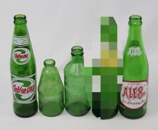 Lot of 4 Vintage Soda Pop Glass Bottles - Mountain Dew Stubby, Ale 8, SunDrop
