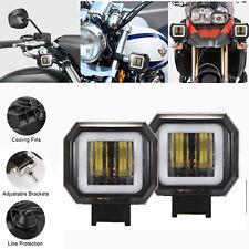 2x 3 inch 40W Square Off-road Boat Work Motorcycle LED Angel Eye Fog Light 6000K