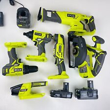 RYOBI P1819 18-Volt ONE+ Lithium-Ion Cordless 6-Tool, 2 Batteries, Charger, Bag