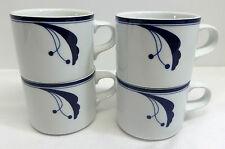 Dansk Flora Bayberry Blue Set of 4 Coffee Mugs Portugal