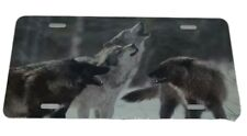 Howling Wolf Pack License Plate 6 X 12 Inches Aluminum New Made In Usa