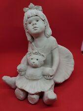 Vintage Austen Sculpture Girl Holding Teddy Bear by Dee Crowley