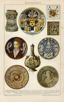 Stampa Antica 1898 = MAIOLICA Gubbio Urbino Faenza = CROMOLITOGRAFIA = Old Print