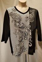 New KAREN SCOTT Women's Plus Size 2X B & W Rhinestones V Neck 3/4 Sleeve Top