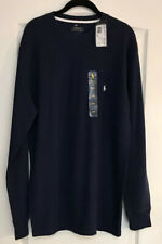 New Ralph Lauren Polo Waffle Weave  Pullover Top Shirt Mens Large Navy Blue