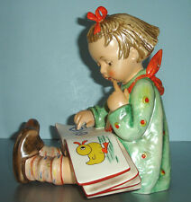 "Hummel Goebel GIRL READING BOOK Book Worm #3/II LARGE 9""H Figurine Tarrytown"