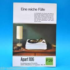 Apart 106 Phonokoffer DDR 1969 | Prospekt Werbung Werbeblatt DEWAG P29 B