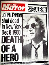 JOHN LENNON Shot Dead Newspaper The Beatles New York Liverpool Signed Old Retro