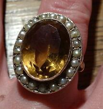 vintage BIG ring 9ct GOLD CITRINE seed PEARL statement design N 6 3/4 - 4650