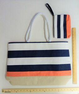 DSW NAVY BLUE WHITE Tote Purse BEACH BAG Make Up Pouch - FLASH SALE