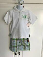 Chams GS 115 Shirt/Short Set Size 3T Green White Plaid Boys New