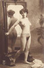 Jean Agélou Femme nue au miroir Artistique Paris Vintage argentique ca 1910