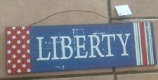 """""""Liberty"""" Wall Hanging Sign Plaque patriotic red white blue stars stripes flag"""