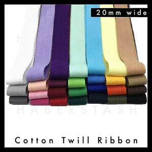100% Cotton Twill Herringbone 20mm wide Various Colours heading tape