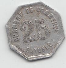 WWI France Monnaie de necessite jeton token - Bayonne 1920 - 25 Centimes 24