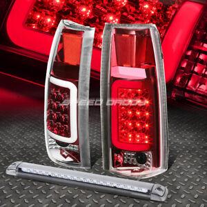 CHROME HOUSING RED 3D LED TAIL+3RD BRAKE LIGHT FOR 92-00 SUBURBAN/TAHOE/YUKON