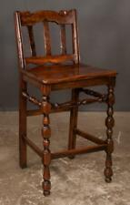 English style bar stool with scroll design in the back, plank seat an. Lot 187