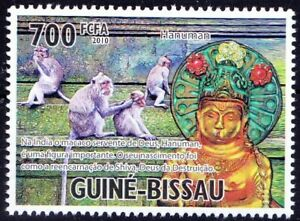Guinea Bissau 2010 MNH, Holy of India, Lord Hanuman, Monkeys, Wild Animals