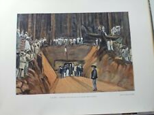 Guyane Francaise/Gravure 19°in folio couleur/ inauguration de la mine de Quartz