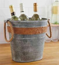 Mud Pie Circa Cork Band Galvanized Tin Party Drink Tub Beverage Cooler 4864004