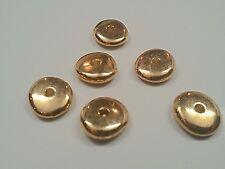6 CCB Acrylic Flat Round Beads, Golden, 18x6mm, Hole: 3.5mm