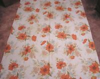 """Vintage Tablecloth Blue and Rust Poppies Daisies Lightweight 1970s ( 50"""" X 70"""" )"""