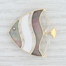 Diamond Mother of Pearl Abalone Angel Fish Brooch 14k Yellow Gold Nautical Pin