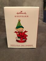 Hallmark 2019 North Pole Tree Trimmer Elf Red Bow Ribbon #7 Keepsake Ornament