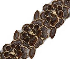 Bestickte Borte Besatzborte Zierborte, Braun, Gold, 85 mm breit, 1 Meter, Blumen