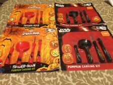 Lot Of 4 Star Wars Spider Man PUMPKIN CARVING KIT 7 Patterns 4 Tools NEW Marvel