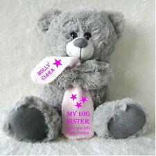 PERSONALISED GREY TEDDY BEAR WITH BLANKET BIG/LITTLE SISTER BIRTHDAY FLOWER GIRL