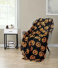 Halloween Jack-O'-Lantern Pumpkins Orange & Black Ultra Plush Throw Blanket