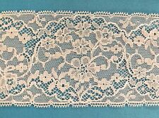 "11yd Vintage WIDE IVORY NYLON LACE TRIM 3-3/4"" WIDE Picot EDGING Floral Net Lace"