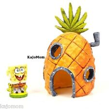 SPONGEBOB & PINEAPPLE HOUSE Aquarium Decoration Ornament 2 Piece Set *NEW*