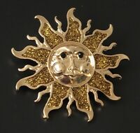 Unique sun face  Brooch pin In enamel on hold tone Metal