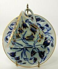 Lomonosov Imperial Porcelain Tea Cup & Saucer Bluebells Pattern 8 oz.