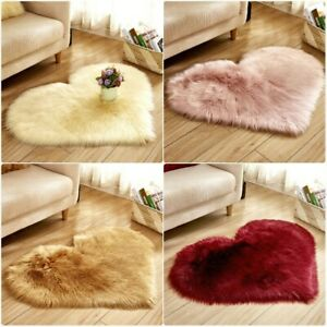 Heart-shaped Carpet Faux Suede Fluffy Rug Upholstery Living Room Home Decor