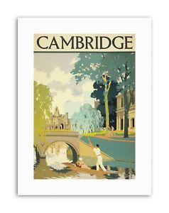 CAMBRIDGE ENGLAND CAM PUNT BRIDGE NEW Poster Picture Travel Canvas art Prints